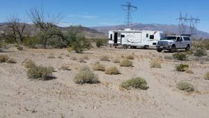 Our campsite on BLM land, about 10 minutes north of Baker. This was some sort of train stop at one time.